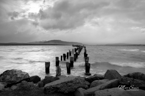 MS Productions Shop Canvas Print Puerto Natales Chile Broken Pier Black and White